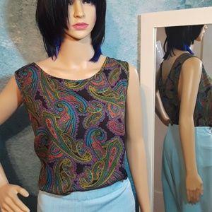Vintage 1970s Paisley slip blouse size 2X